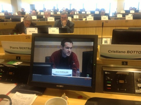 Josué Dusoulier of Ath en Transition (Belgium) giving evidence.