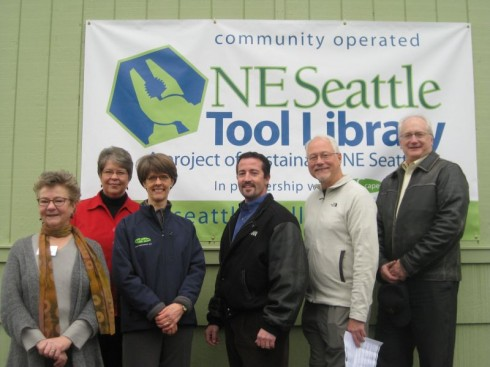 Susan Gregory (NE Seattle Tool Library), Pastor Lorraine Watson (North Seattle Friends Church), Signe Gilson (Cleanscapes), Dai Gorman (Lease Crutcher Lewis), Richard Conlin (Seattle City Council), and Tim Croll (Seattle Public Utilities)