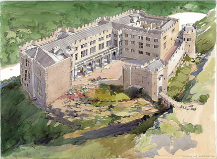 An artist's impression of Berry Pomeroy Castle at its pinnacle of opulence (Image: English Heritage).