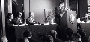 The original Limits to Growth team presenting their first report in 1972.