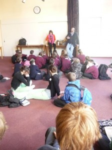 Dick Strawbridge and Julia Hailes discussing green living with 'Eco Schools' participants