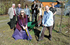 Digging in for the gardening season ahead are Carin Schwartz, chairperson of the Transition Town Forres group, and Paul Harvey, newly appointed chairman of the Forres Community Garden Group.